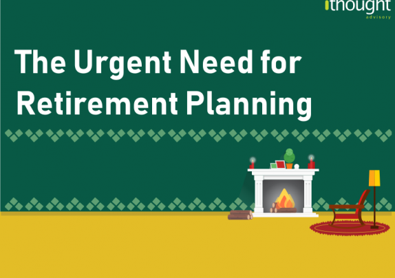 Fireplace background displaying the title - The urgent need for retirement planning